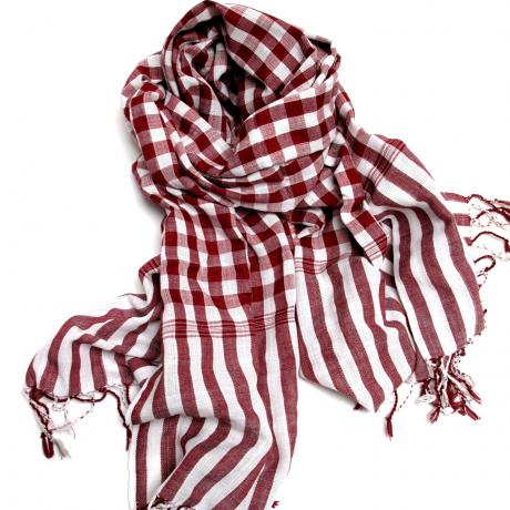 Warm you up: Cambodian red and blue checkered scarf or krama