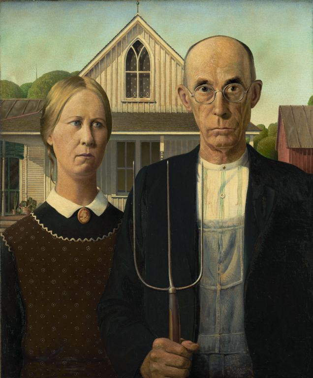 Grant Wood, American Gothic, 1930. Courtesy of the Art Institute of Chicago.