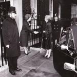 Icelandic President Vigdis Finnbogadottir meet Margaret Thatcher at 10 Downing St.
