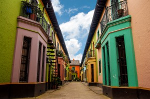 Bright colorful historic buildings in Los Martires neighborhood in Bogota, Colombia shutterstock_153960107