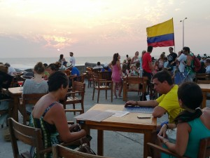 Enjoying the sunset in Cartagena, Colombia