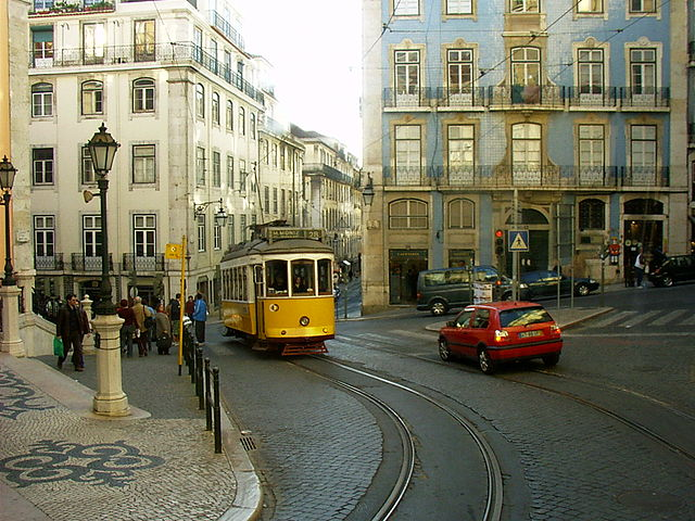 A streetscape in Lisbon