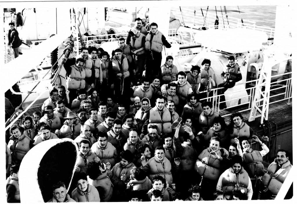 Domenico and Caterina on the ship Conte Bianca Mano, Nov 1959