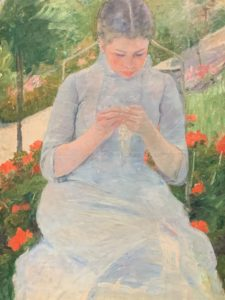 Young Woman Sewing in a Garden<br/>by Mary Cassatt