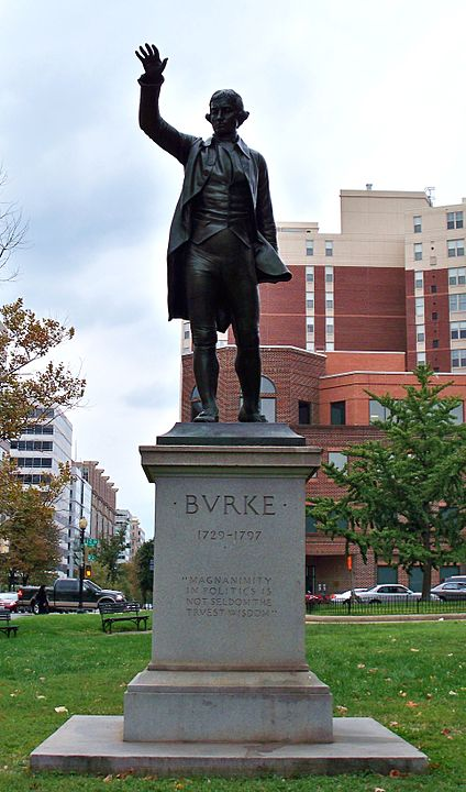 A statue of Edmund Burke, often called the father of conseravtism, in Washington DC